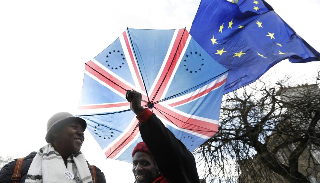 Demonstranter utenfor Parlamentet i London. Foto: Kirsty Wigglesworth / AP / NTB scanpix