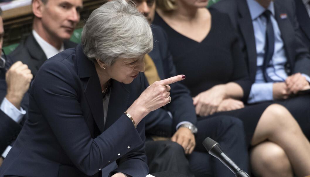 Storbritannias statsminister Theresa May i Underhuset onsdag. Foto: AP / NTB scanpix