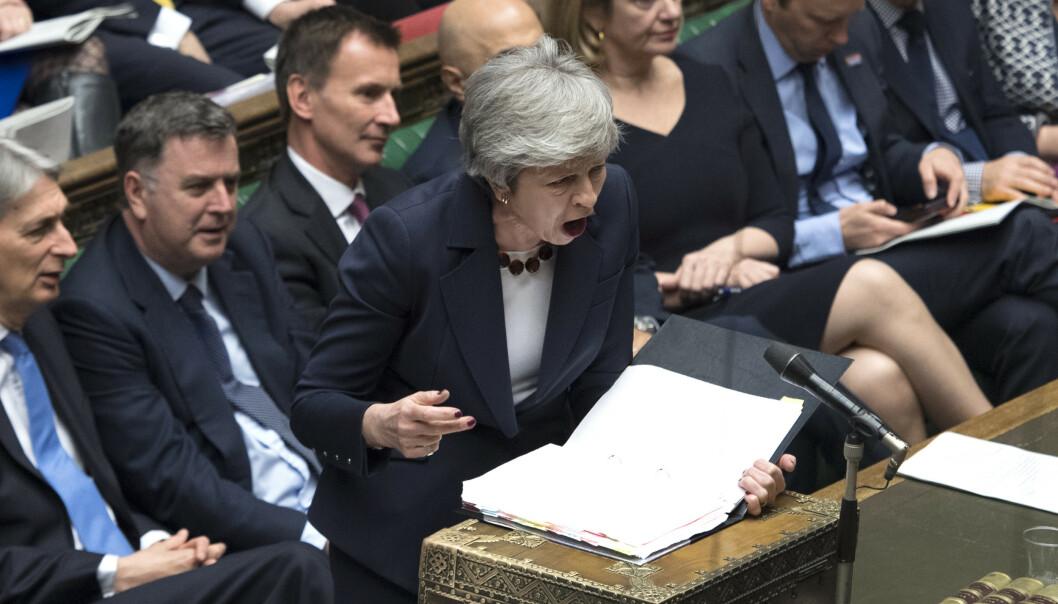 <strong>FORHANDLING:</strong> Blir det nei en tredje gang, må Theresa May ha en ny plan for utmeldingen innen 12. april for å unngå at Storbritannia forlater EU uten en avtale.Foto: Jessica Taylor/ AP/NTB SCanpix.
