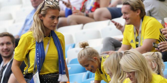 Maja Nilsson (left), wife of Victor Lindelof, during the FIFA World Cup, Quarter Final match at the Samara Stadium.