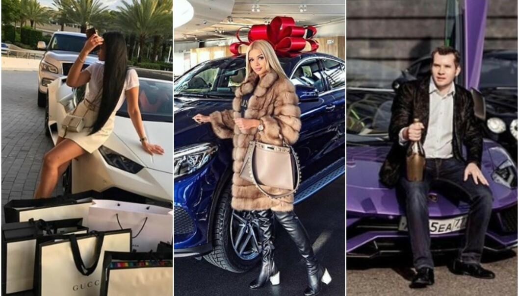 PROVOSERER: I Russland provoserer rike ungdommer med å vise fram sin enorme formue på nett. Foto: Skjermdump Instagram