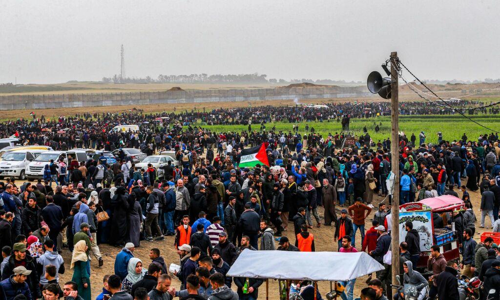 image: Store demonstrasjoner på Gazastripen