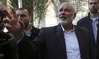 Hamas-leder Ismail Haniyeh (i midten) håper en million mennesker vil delta i demonstrasjonene på Gazastripen lørdag. Foto: Adel Hana / AP / NTB scanpix