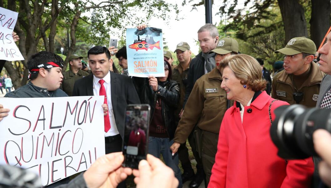 SNAKKET MED DEMONSTRANTENE: - Det er bra dere vil ta vare på miljøet, sa dronningen til de oppmøtte demonstrantene. Foto: Andreas Fadum