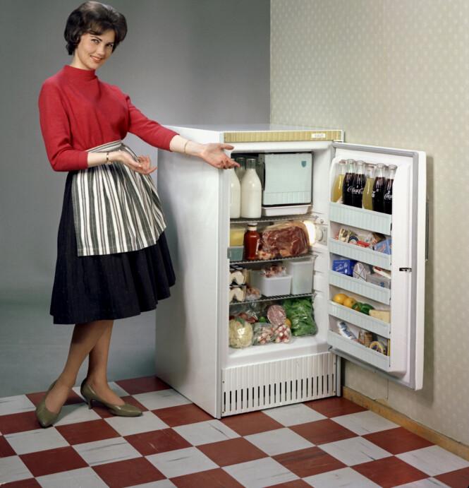 En kvinne, som var eller forestilte en husmor, var et opplagt valg som reklamemodell for Evalet da dette kjøleskapet skulle markedsføres i 1960. FOTO: Atelier Rude/Oslo Museum