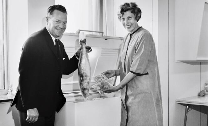 Fryseboksen kom til Norge etter andre verdenskrig, og ble introdusert som en viktig del av husmorens hverdag. Rolf Kirkvaag, som i flere år var direktør for Dypfrysingskontoret, reiste landet rundt for å snakke om fryserens fordeler, mens Bjørg Eliassen ble kjent for boka «Vi dypfryser» fra 1965. FOTO: Rigmor Dahl Delphin/Oslo Museum