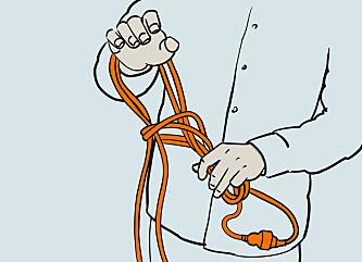 <strong>Hekle2:</strong> Træ hånden igjennom, ta tak i kabelen og fortsett til hele kabelen er heklet. Illustrasjon: Øivind Lie-Jacobsen