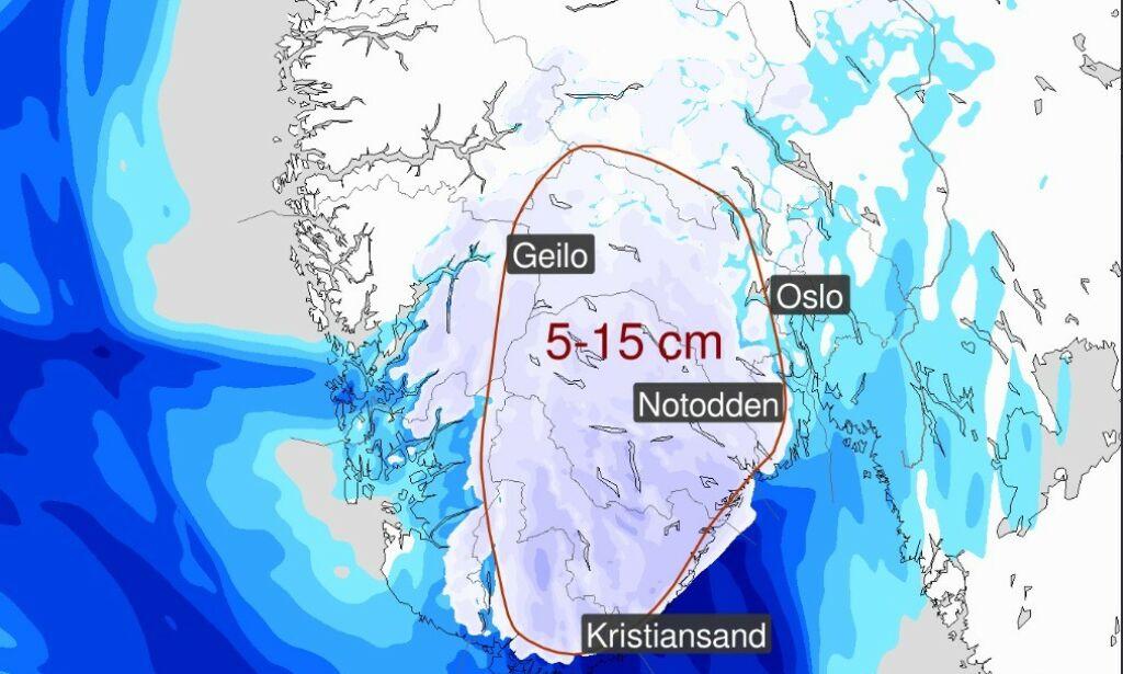 image: Varsler snøkaos på Østlandet - kan komme 15 cm!