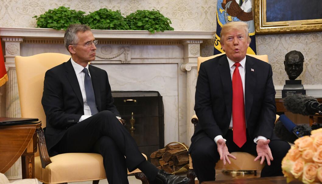 USAs president Donald Trump var full av lovord da han tok imot NATOs generalsekretær Jens Stoltenberg i 2017. Foto: Johan Falnes / NTB scanpix