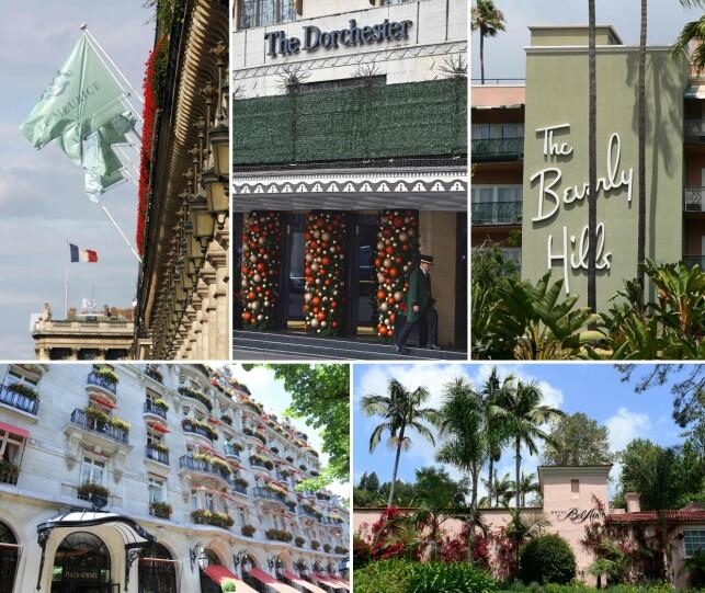LUKSUSHOTELLER: Dette bildet viser fasaden av fem av de ni hotellene som eies av Brunei. Øverst fra venstre: Hotel Meurice i Paris, The Dorchester i London, The Beverly Hills i Lod Angeles, The Hotel Plaza i Athen og The Hotel Bel-Air i Los Angeles. Foto: NTB Scanpix