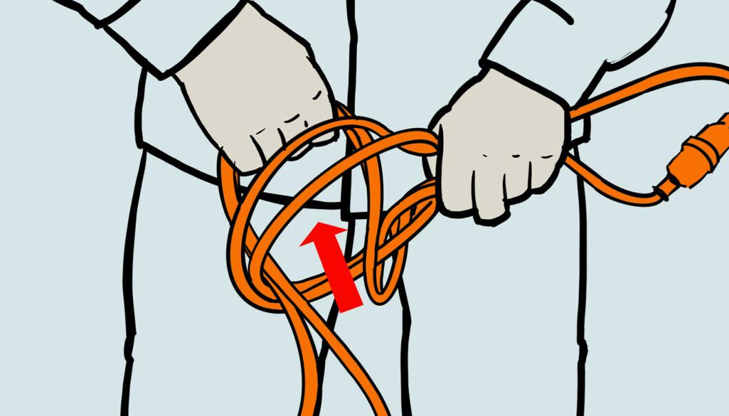 <strong>Hekle1:</strong> Trekk kabelen igjennom løkken. Samme prinsipp som fingerhekling. Illustrasjon: Øivind Lie-Jacobsen