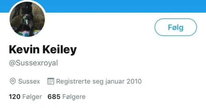 TWITTER: Kevin Keiley har foreløpig fått beholde brukernavnet på Twitter. Foto: Skjermdump, Twitter
