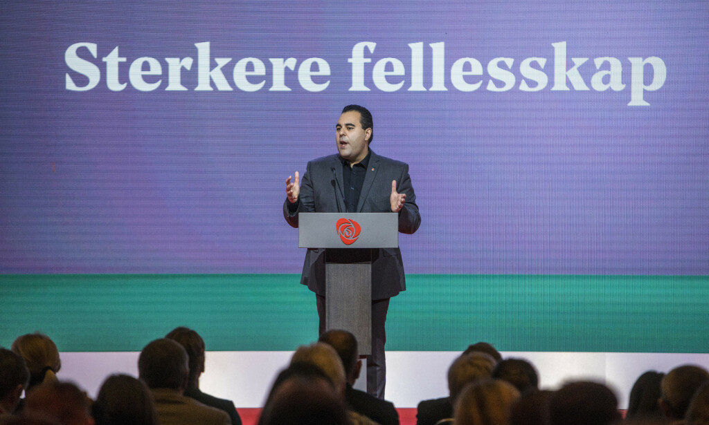 FÅR KRITIKK: Utvalgsleder Masud Gharahkhani presenterte arbeidet til migrasjonsutvalget på Arbeiderpartiets landsmøte fredag. Foto: Ole Berg-Rusten / NTB Scanpix