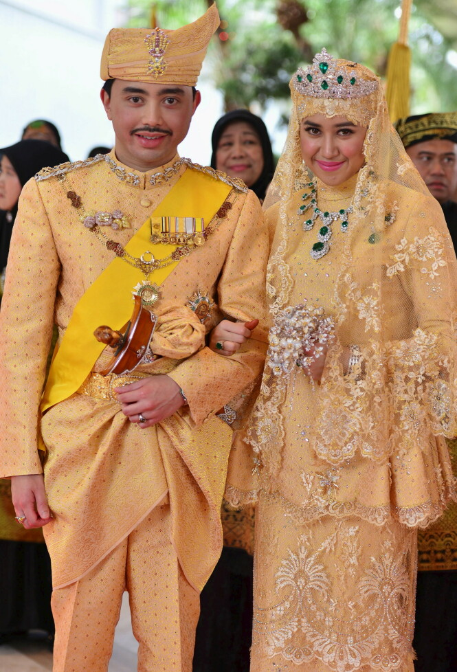 BRYLLUP: Prins Abdul Malik og Dayangku Raabi'atul 'Adawiyyah Pengiran Haji Bolkiah giftet seg 12. april 2015. Malik er sønnen til sultanen i Brunei. Foto: NTB Scanpix
