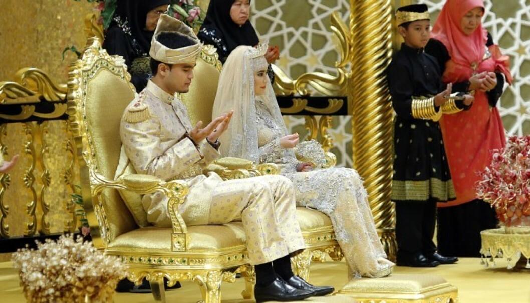 GULL: Det var lite som ble overlatt til tilfeldigheene da sultanens datter giftet seg i 2012. Foto: NTB Scanpix