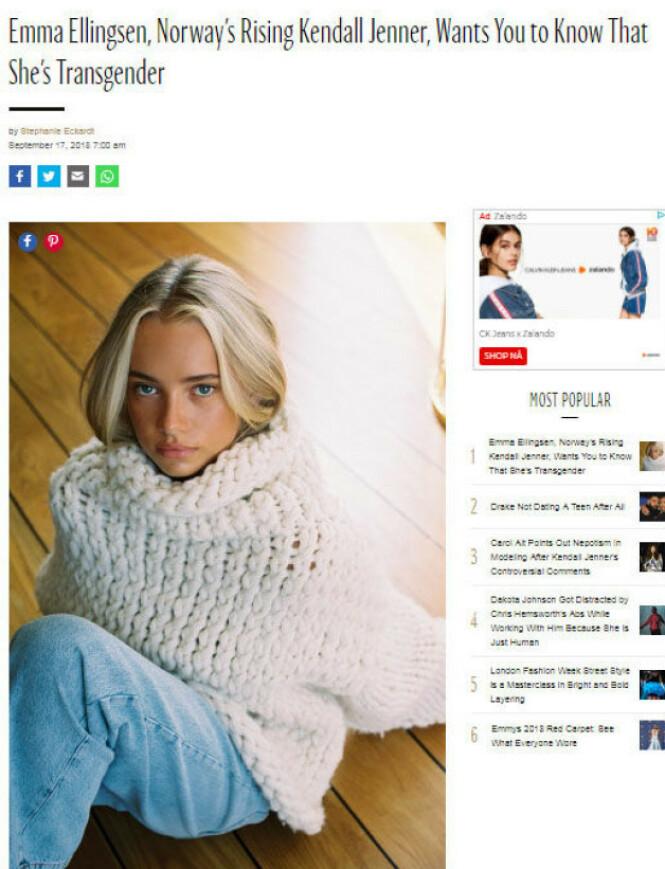 PRESTISJE: Norske Emma Ellingsen dukket opp i det internasjonale motemagasinet W Magazine i september i fjor. Foto: Faksimile, W Magazine