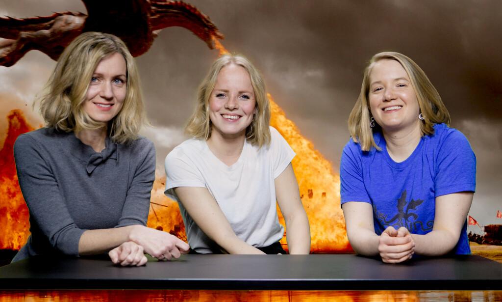 TRONETID: (f.v.) Inger Merete Hobbelstad, Marie Røssland og Marie Kleve skal diskutere alle episodene i den siste sesongen av Game of Thrones. Foto: Lars Eivind Bones / Dagbladet