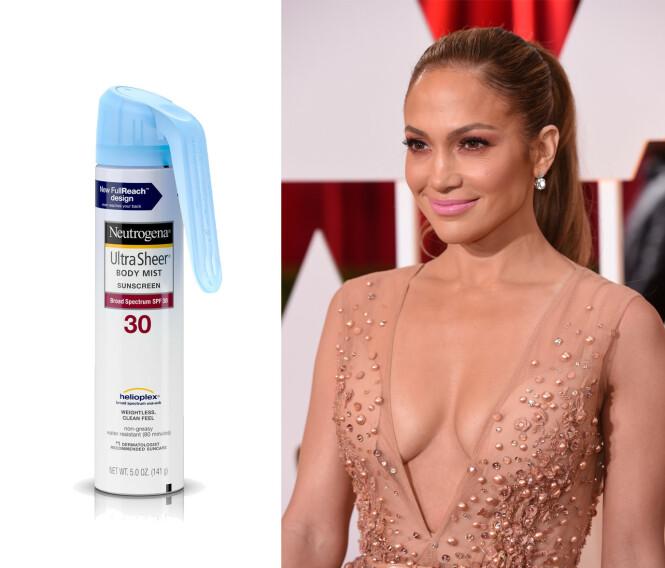 JENNIFER LOPEZ: Makeupartisten hennes bruker denne fra Neutrogena for glød og beskyttelse. Foto: Scanpix og produsenten