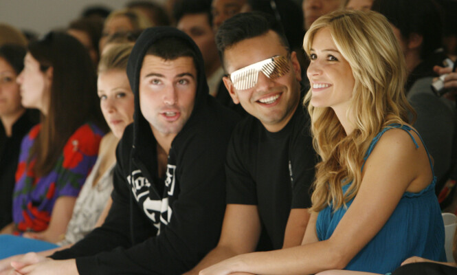 <strong>STØTTE:</strong> Kristin sammen med Frankie Delgado og Brody Jenner under Lauren Conrads moteshow i 2008. Foto: NTB Scanpix