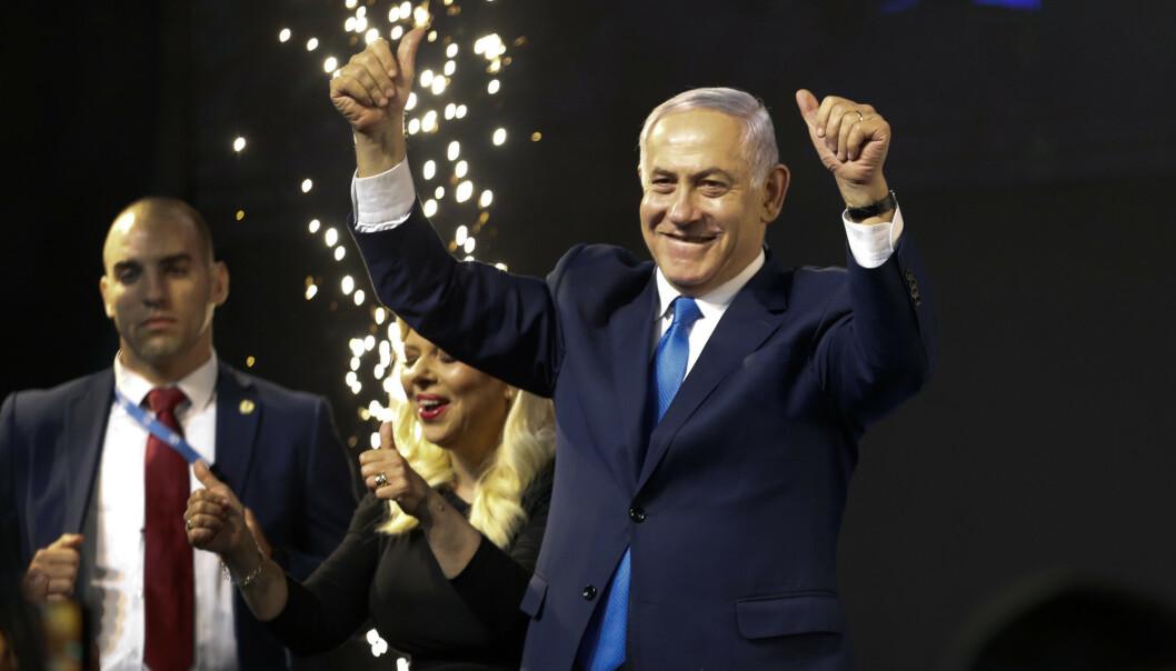 Benjamin Netanyahu vant valget i Israel eller en jevn valgnatt. Foto: AP Photo/Ariel Schalit / NTB scanpix