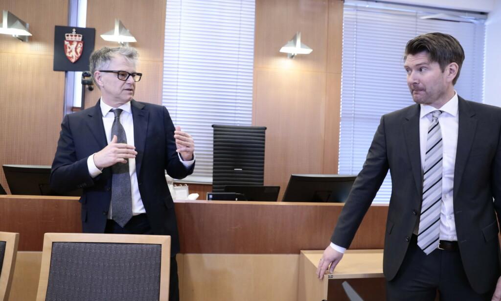 AKTØRENE I RETTEN: Forsvarer Øystein Storrvik og politiadvokat Christian Hatlo.  Foto: Nina Hansen / DAGBLADET'
