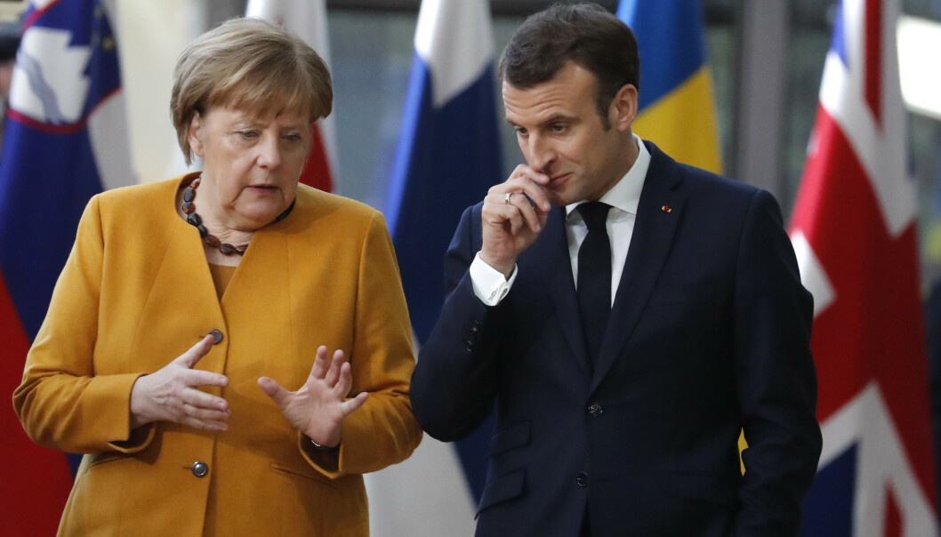 <strong>MØTES:</strong> Angela Merkel og Emmanuel Macron her fra et møte tidligere i år. Foto: Frank Augstein AP / NTB Scanpix.
