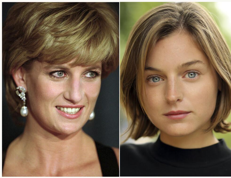 SOM TO DRÅPER VANN: Det er den britiske 23-åringen Emma Louise Corrin som skal portrettere unge prinsesse Diana i sesong 4 av The Crown. Sesongen har premiere i 2020. FOTO: NTB Scanpix
