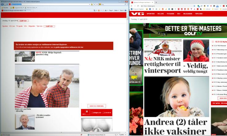 VG i Internet Explorer 8-drakt til venstre, og i nyeste Chrome til høyre. Alt som tegnes av JavaScript mangler, inkludert høyremenyen. VG-logoen vises ikke, siden den er et SVG-bilde. 📸: Jørgen Jacobsen