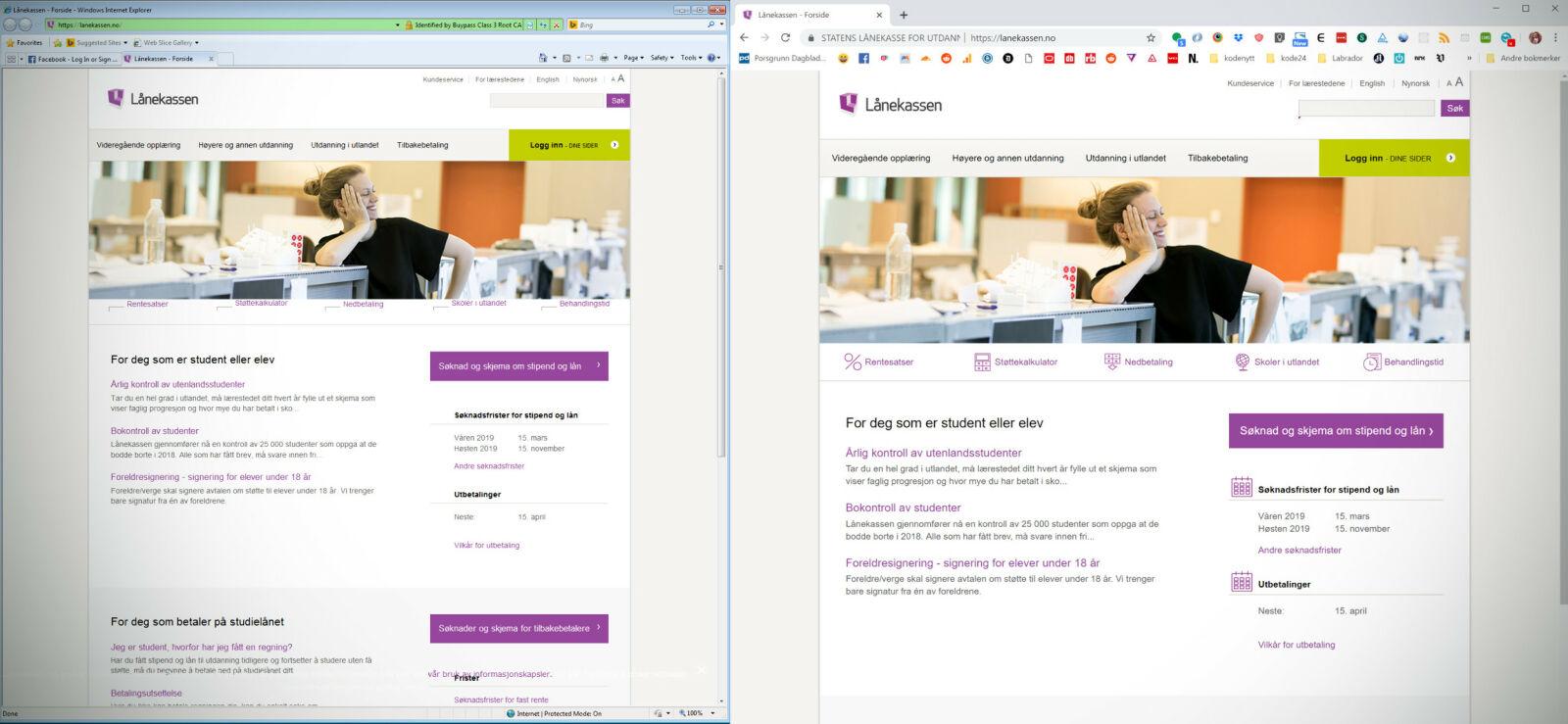 laanekassen.no ser nesten helt lik ut i Internet Explorer 8 og nyeste versjon av Chrome. 📸: Jørgen Jacobsen