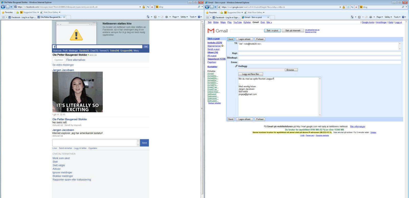 Facebook gir oss en variant av mobilsiden sin, som fungerer uten AJAX og JavaScript. Gmail gir oss den gamle versjonen av nettsiden sin, som også fungerer uten JavaScript. 📸: Jørgen Jacobsen