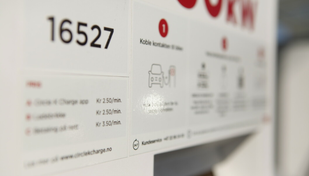 <strong>MINUTTBETALING:</strong> Tilbyderne oppgir priser per minutt - ikke kWt - når man lader elbiler i Norge. Foto: Øystein Bergrud Fossum