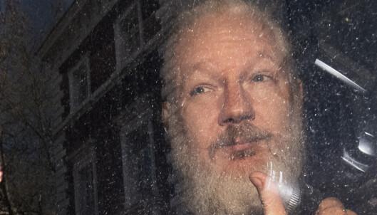 Julian Assange idet han ankom Westminster Magistrates' Court i London torsdag, etter pågripelsen i Ecuadors ambassade. Foto: Victoria Jones/PA via AP / NTB scanpix
