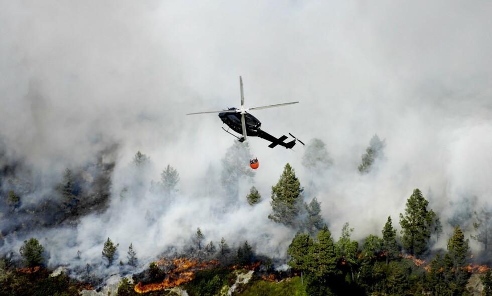 STORBRANN: Slik så det ut da en skogbrann herjet over et stort område i Aust-Agder i 2008. Brannhelikoptre jobbet på spreng med å få kontroll over brannen. Foto: Thomas Rasmus Skaug / Dagbladet