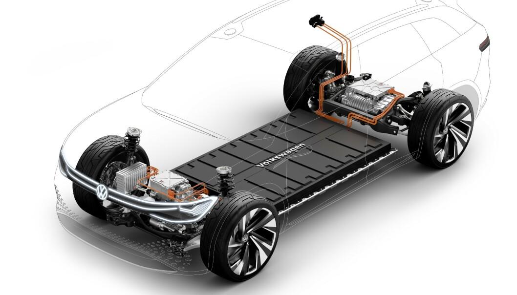 <strong>FLEKSIBEL:</strong> Den nye elektriske plattformen er svært fleksibel når det gjelder drivlinjer og gir store muligheter for raske modeller når markedet er klare for dem. Illustrasjon: VW.