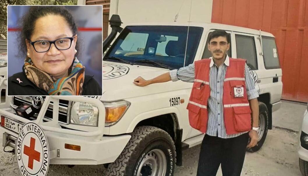Røde Kors-sjåføren Nabil Bakdounes ble bortført sammen med sin sjåførkollega Alaa Rajab og den newzealandske sykepleieren Louisa Akavi (innfelt) i Syria i 2013. Foto: AP / NTB scanpix
