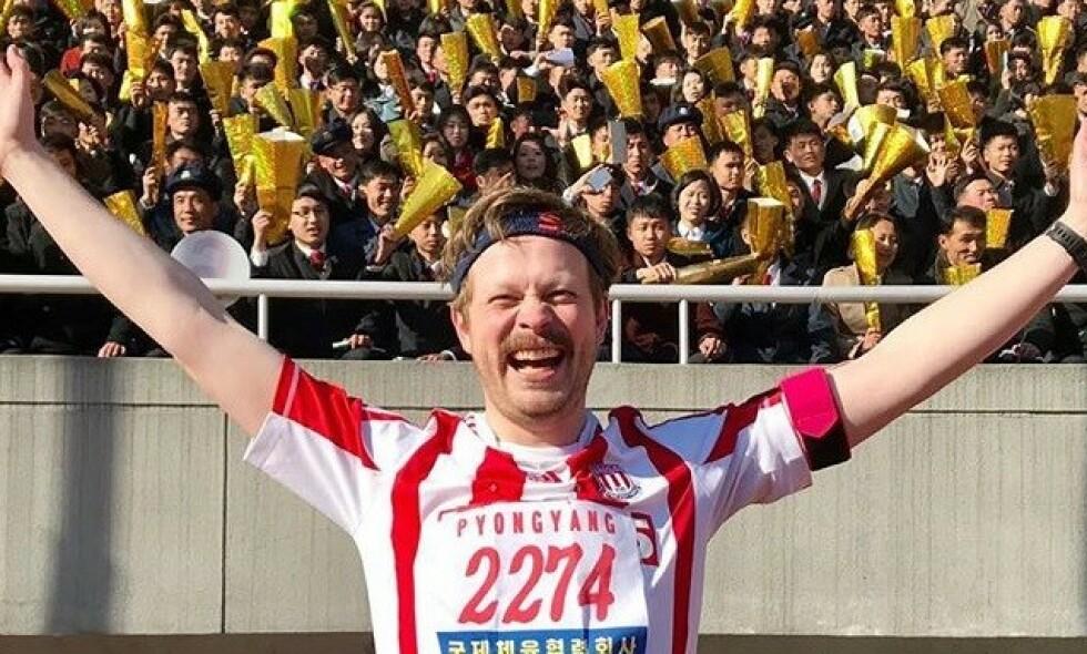 STORFORNØYD: Einar Tørnquist har nylig fullført halvmaraton i Nord-Korea. Til Se og Hør forteller han om løpet. Foto: Privat