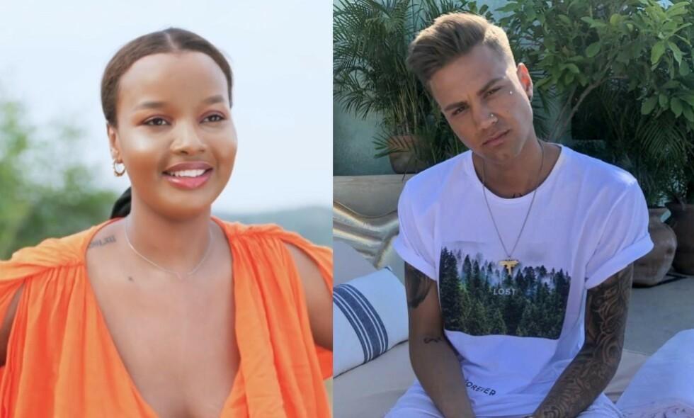 LØGN: «Paradise Hotel»-deltakerne Jamilla Brooke Wais (24) og Robin Johansson (24) hevdet i helga at de hadde blitt et par. Nå forteller Jamilla bakgrunnen for at de diktet opp forholdet. Foto: TV 3 / Jonas Hammer