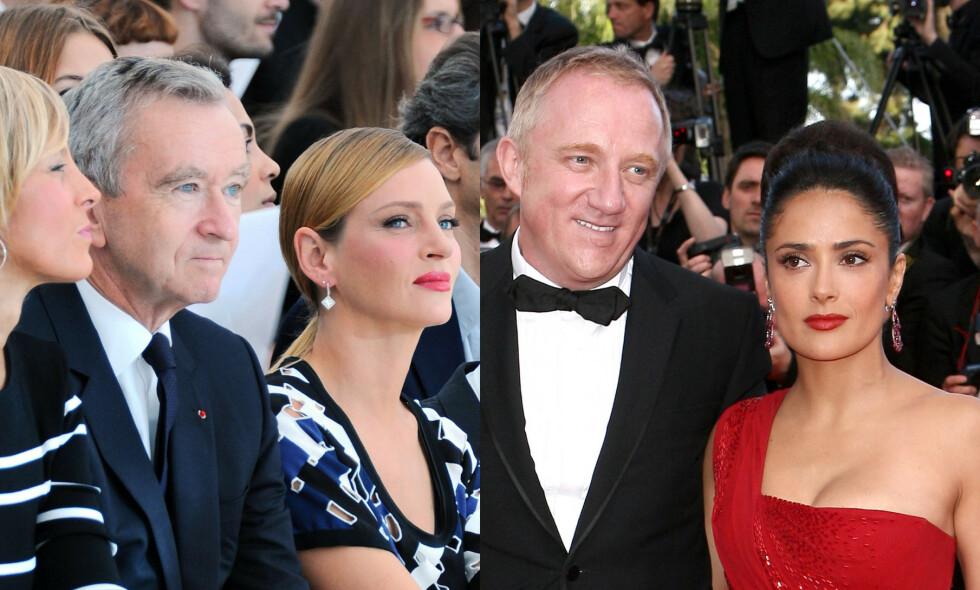 FRANKRIKES RIKESTE: (f.v.) Bernard Arnault (70), her sammen med skuespiller Uma Thurman, og François-Henri Pinault (56), her sammen med skuespiller og kone Salma Hayek, donerer milliarder av kroner til sammen for gjenpoppbyggingen av Notre-Dame. Foto: Scanpix
