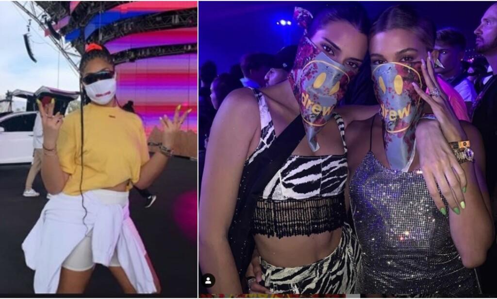 MASKER: Kjendisene har under årets Coachella-festival omfavnet en ny trend, nemlig munnbind. Her er Jordyn Woods (t.v) Kendall Jenner og Hailey Baldwin. Skjermdump: Instagram