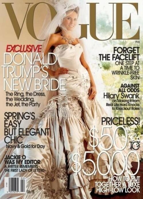 PÅ COVERET: Melania Trump avbildet på forsiden av amerikanske Vogue i februar 2005. Foto: Faksimile / Vogue