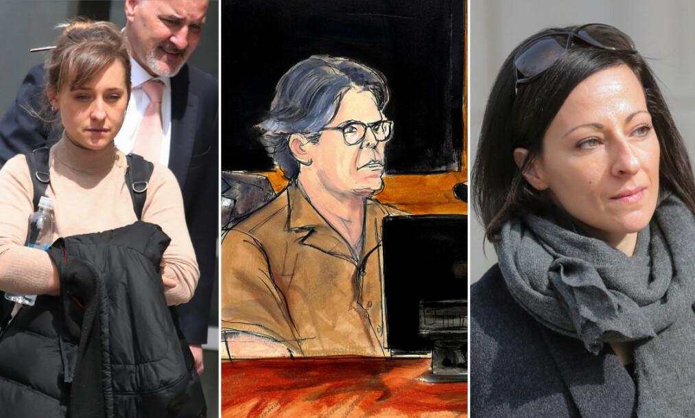 <strong>SEX-KULT:</strong> Allison Mack, Keith Raniere og Lauren Salzman er alle tiltalt for menneskehandel og misbruk av flere kvinner i sex-kulten DOS, en undergruppe av organisasjonen NXIVM. Foto: NTB Scanpix
