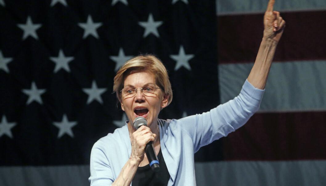 Senator Elizabeth Warren krever Trump stilt for riksrett. AP Photo/Rick Bowmer