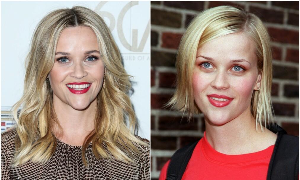NÅ OG DA: Reese Witherspoon som 43-åring på bildet til venstre og som 25-åring i 2001 på bildet til høyre. Foto: NTB Scanpix