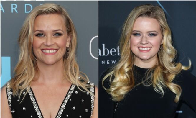 PRIKK LIKE: Reese og datteren Ava er slående like og kunne lett blitt forvekslet for å være søsken i stedet for mor og datter. Foto: NTB Scanpix