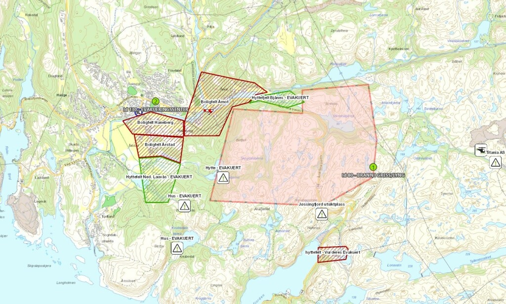 OVERVIEW: Here's a review of the affected areas. The large pink field shows an area where it burns. Two green fields show evacuated zones. Three red fields show housing fields that are now evacuated. In addition, in the south there is a cab marked with red, which is considered to be evacuated. Photo: Police