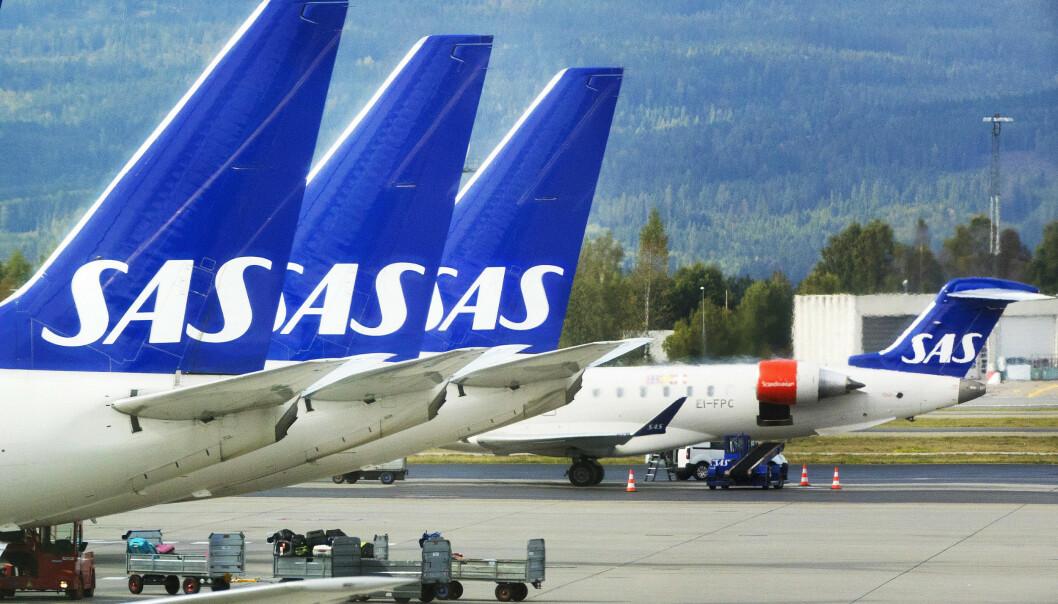 <strong>KAN BLI STÅENDE:</strong> Dersom ikke SAS og pilotene kommer i mål med lønnsforhandlingene, kan tre av fire SAS-fly bli stående på fredag. Foto: Gorm Kallestad/NTB Scanpix