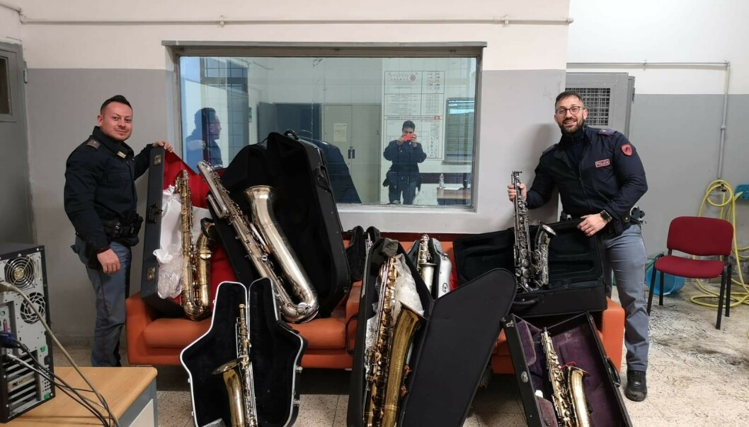 Åtte av de 35 saksofonene har kommet til rette i etterkant. Foto: Privat