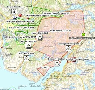 <strong>BRANNKART:</strong> Det lyserøde område viser hvor det er brann. Foto: Sørvest Politidistrikt.