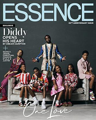 ÅPEN: Diddy er åpen om tiden etter Kim Porter sitt dødsfall. Her er han på forsiden av Essence med alle barna sine. Foto: NTB Scanpix