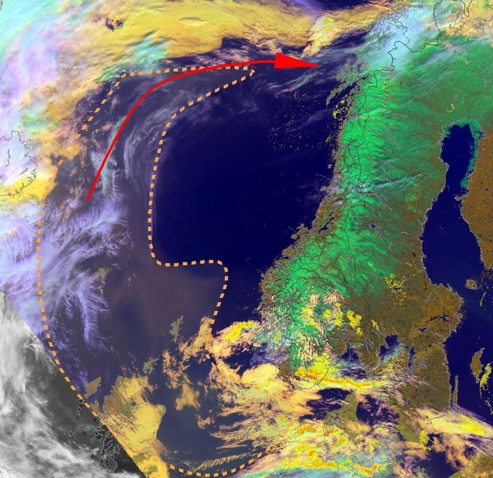 SAHARA-STØV: Meteorologisk institutt har gitt ut en oversikt over området med støv fra Sahara. FOTO: Meteorologiske institutt